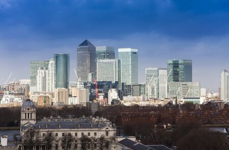 LONDON, UNITED KINGDOM - FEBRUARY 23 2017: London city, business district view of modern buildings 스톡 콘텐츠