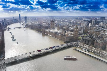 aerial view of London city skyline, panorama 스톡 콘텐츠