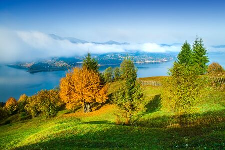 autumn landscape in Bicaz lake and mountain landscape