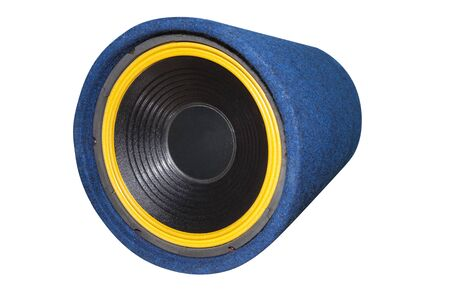 blue subwoofer speaker for car audio isolated on white
