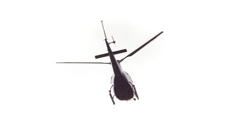 helicopter flying isolated on white background Stok Fotoğraf