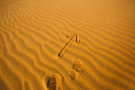 arrow in the desert sand pointing forward, leader concept