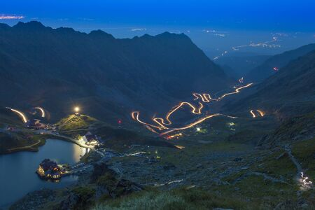 mountain road at night. Transfagarasan, Romania