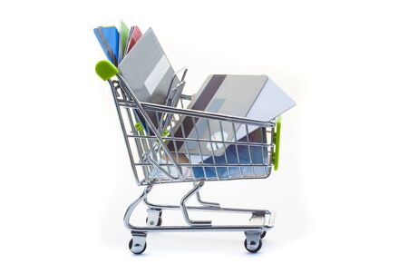 concept of shopping with supermarket cart and credit card Zdjęcie Seryjne