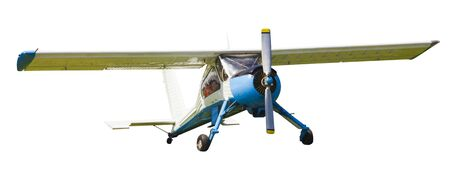 small airplane ready for takeoff isolated on white background