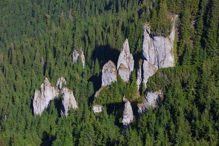 big mountain rock in forest, Romania