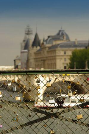 love locks or padlock on bridge in Paris city, France
