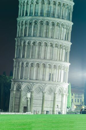 the Leaning Tower of Pisa at night. Italy