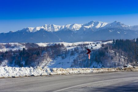 Bucegi mountain in winter landscape Stok Fotoğraf