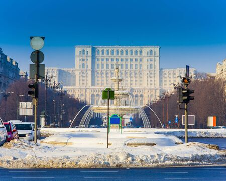 Bucharest city in winter. Parliament building Banco de Imagens