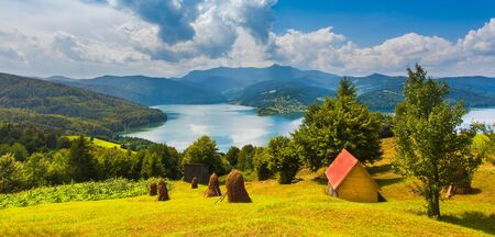 lake and mountain landscape. Carpathians, Romania Stok Fotoğraf