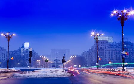 Bucharest city in winter night Stok Fotoğraf