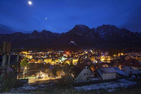 Busteni city at night. Romania