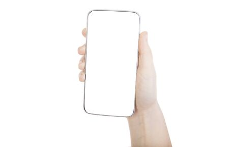 woman hand holding smartphone with white screen and background