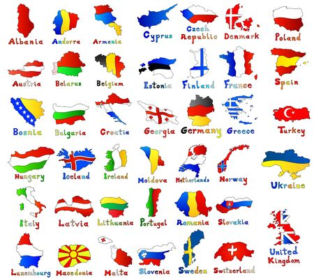 set of Europe maps and flags. hand drawn illustration