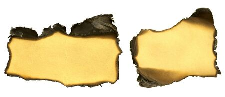 set of torn and burned paper or cardboard