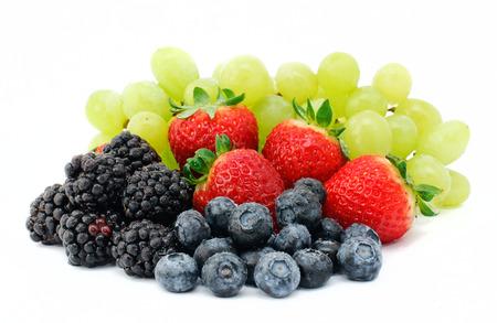 Fresh fruit salad mix on white backgound