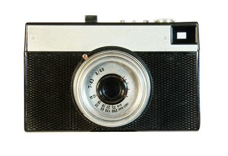 Old plastic camera isolated on white background photo