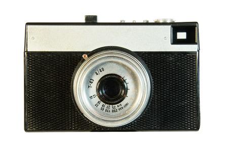 Old plastic camera isolated on white background photo