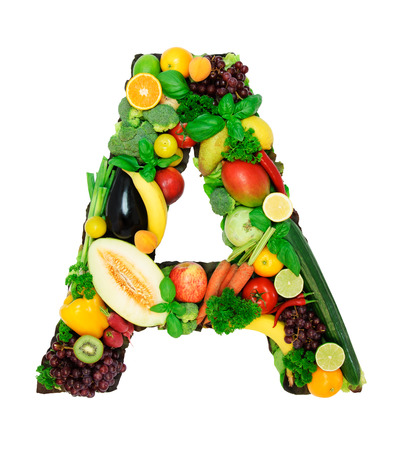 letter a: Letter made from fresh vegetables a fruits isolated on white background