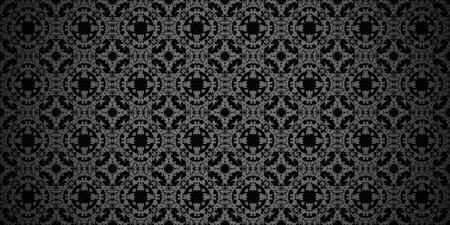 Vintage ornamental retro pattern  - black background photo