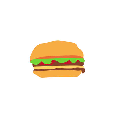 hamburger isolated on white background. Vector illustration. Çizim