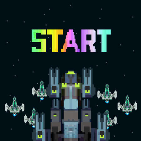Retro video game, screen, arcade space warships, shooting, background map, vector graphic design illustration. 16 bit, 8 bit. Space place. Battles under the stars. Old computer games.