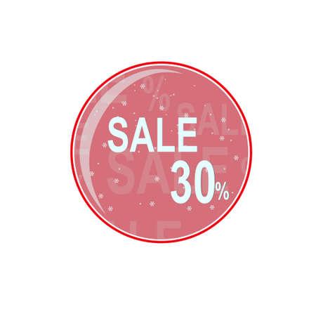 glass ball, thirty percent winter discount. Vector graphics
