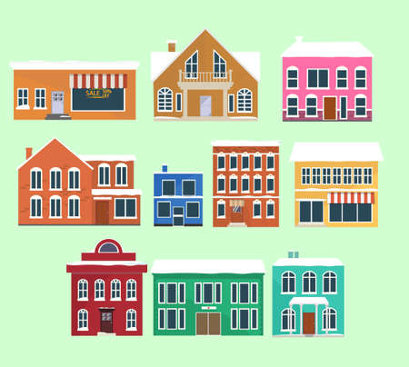 Set of winter houses, cartoon style. Vector Vector Illustration