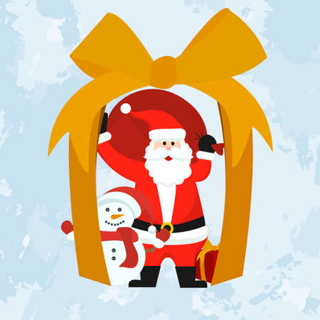 Christmas gift, new year card, Santa Claus and snowman give gifts. Vector.