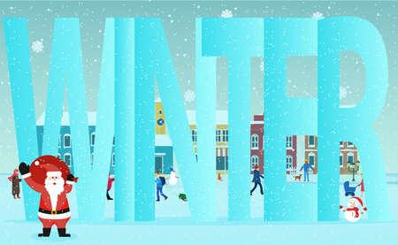 winter lettering. approaching new year. city landscape. vector. 版權商用圖片