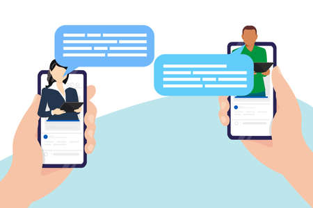 Two hands are holding a smartphone with new notifications and messages on the screen. Notification of a mobile phone about a new letter. Sharing multimedia. Vector