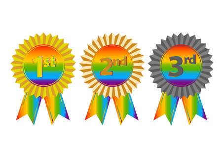 Medals for the first, second, third place in rainbow love concept. LGBT flag. Human rights and tolerance. Vector illustration.