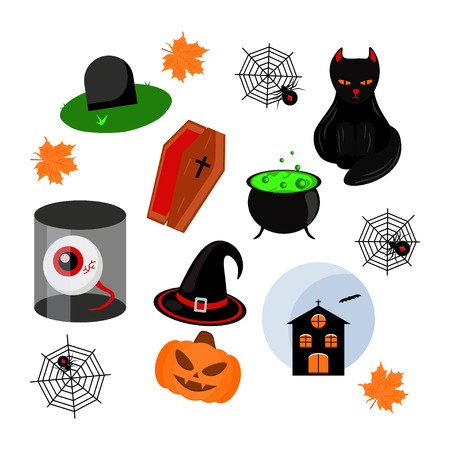 Set of halloween objects