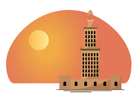 The famous lighthouse of Alexandria from ancient Egypt at sunset. Vector