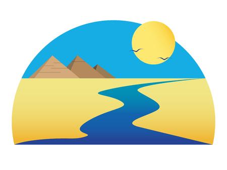 Nil dans le désert sous le soleil. Pyramides égyptiennes
