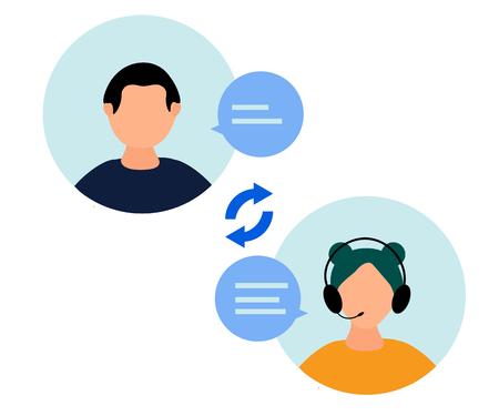 Vector illustration., female hotline operator advises client, customer and operator