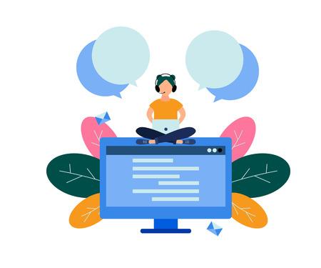 Vector illustration., female hotline operator. Technical support concept
