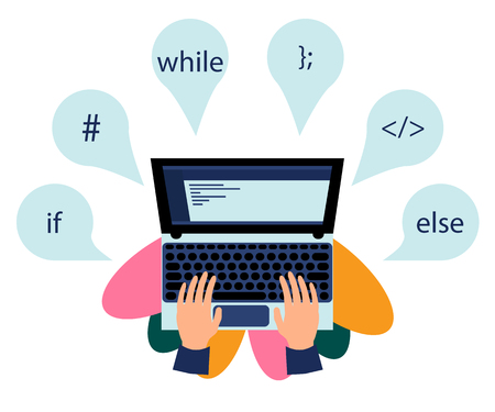 Vector illustration. Workplace of programming. Elements of programming languages 向量圖像