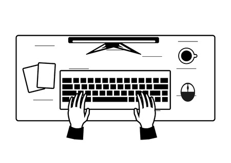 Workplace of programmer. Desktop PC, keyboard, computer mouse, coffee, documents.. Vector illustration