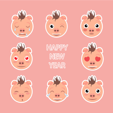 Emoji Set. Symbol of new year. Stickers on pink background 向量圖像