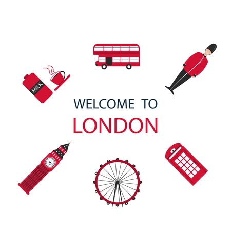 Banner or flyer red London in modern style on white background. London city travel holiday background. Cityscape vector design.