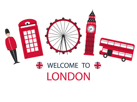 Banner or flyer red London in modern style on white background. London city travel holiday background. Modern city skyline