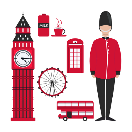 Flat london for decoration design. London skyline. Red london in modern style on white background. Travel Europe. London, uk.  イラスト・ベクター素材