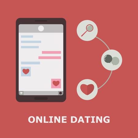 Mobile Online Dating Service. Vector Illustration. Mobile Flirting