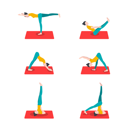 Stylish collection with yoga for healthy lifestyle design. Yoga illustration