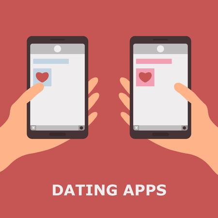 Line Dating. Vector Illustartion of Dating Apps