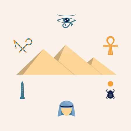 Egypt Illustration, Set of Egypt Elements for Decaration Design. Vector Illustration