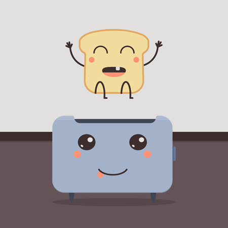 Design with bread and toaster character. Cartoon vector illustration. Baby illustration.