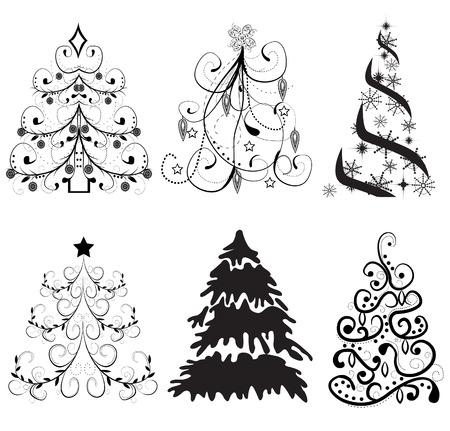 Set of Christmas trees vector Illustration